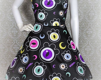 The Eyes Have It Creepy Cute Eyeballs Skater Dress Fairy Kei Pastel Goth Kawaii