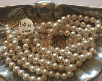 Swarovski Pearl Beads White 6mm Three Strands