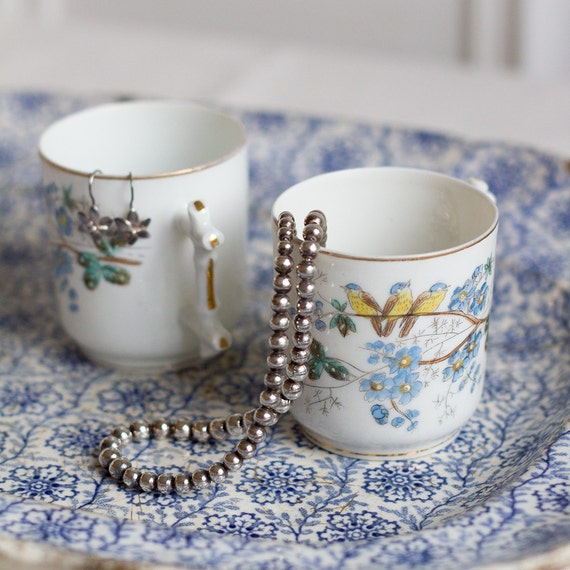 Handpainted Antique Songbird Teacups - set of 2