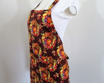Thanksgiving Apron SALE- Fall Autumn Festive Apron - Cooking Apron, Bountiful Harvest Apron, Seasonal Apron, Baking Apron, Adult size apron
