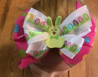 Handmade Boutique pinwheel hair bow happy easter 5""