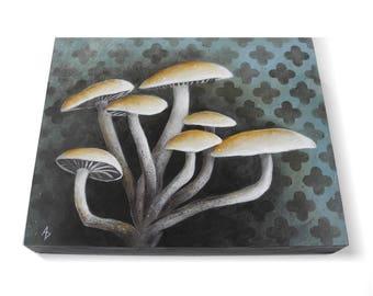 Mushroom Cluster - mushroom painting original art - cluster of mushrooms on hand painted patterns - fungi art - forest floor nature painting