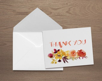 Fall - Thank You Note Card Set with Matching Envelopes (5.5 x 4.25)