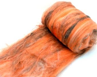 """Cashgora merino, spinning batt, felting batt, Cashgora fiber, merino blend, hand dyed, orange, wool batt, art batt, """"Citrus Trail"""" 4.4 oz"""