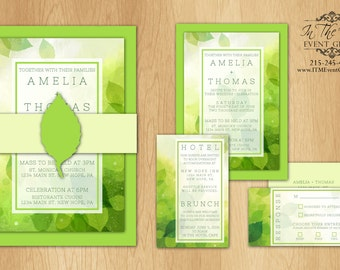 Organic Leaves Wedding Invitations