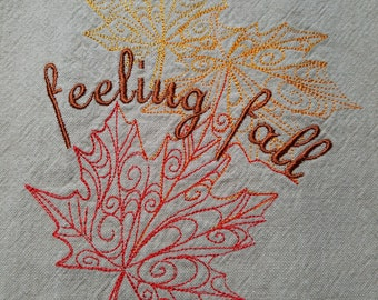 Embroidered Feeling Fall Flour Sack Towel - Ready to Ship