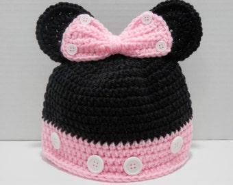 Minnie Mouse Hat - Baby Minnie Mouse Hat- Minnie Hat- Mouse Hat- Newborn Photo prop