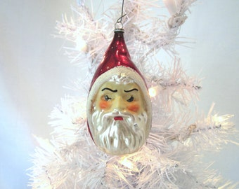 Father Christmas Santa Head Vintage Glass Christmas Ornament Santa Decoration Bauble