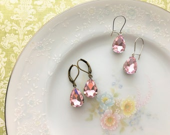Rose Pink Vintage Jewel Earrings, Sparkly Light Pink Rhinestone Earrings, Hypoallergenic, Silver or Antique Bronze Finish - you choose.