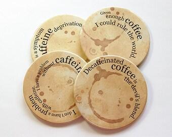 Coffee Coasters, Coasters, Drink Coasters, Tableware, Coffee Lover, Coffee Drinker, Coffee, Caffeine, Hostess Gift, Housewarming (5041)