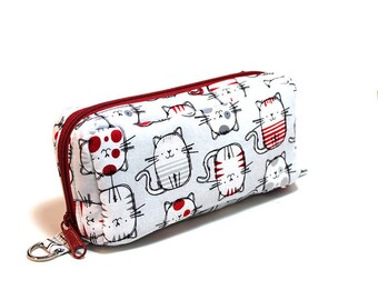 Essential Oil Case Holds 10 Bottles Essential Oil Bag Red and Gray Roly Poly Cats on White