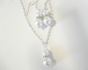 Pearl Bridal Set Necklace Earring Set Wedding Jewelry Ivory Peal and Rhinestone Pearl Set