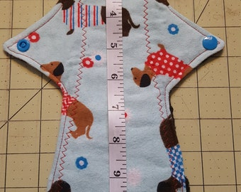 """11.5"""" Moderate Flow Long Cloth Reusable Pad Dachshund"""