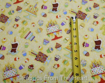 Let's Celebrate Party Cakes Cupcakes on Yellow BY YARDS Henry Glass Cotton Fabric