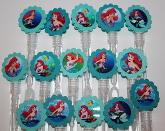 Little Mermaid Mini bubble wands birthday party favors - set of 15