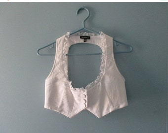 ON SALE Vintage White Tuxedo Halter Top / 90's Backless Crop Top / Vintage  Bustier with Ruffles / Size Small
