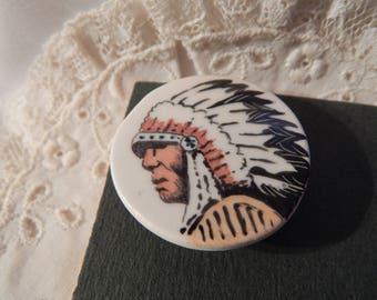 Indian Head Ceramic Button - Studio Button by Idabelle 1994