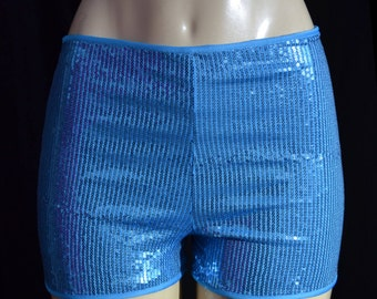 Bandeau Style Turquoise Blue Booty Shorts Sequin Spandex Rave Roller Derby  Bootie Boy Short Hot Shorts
