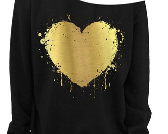 VALENTINE'S DAY - HEART - Foil - Slouchy Sweatshirt - Grunge - Splatter Heart - Off the shoulder - Gold Foil Imprint - s-3x
