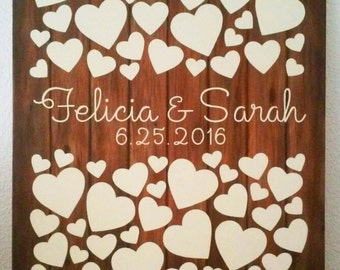 Wedding Guest Signature Canvas, Wedding Gift Canvas, Hand Painted on Sturdy Canvas Board, Rustic with Cream Colored Hearts