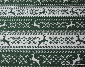 Christmas Flannel Fabric - Green Nordic Reindeer - By the yard - 100% Cotton Flannel