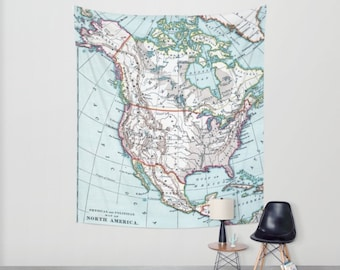 North America Map Tapestry Wall hanging - vintage map, colorful beautiful map, travel decor, wall decor atlas, den, bedroom, library