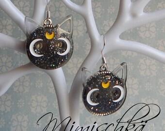 earrings black cat moon