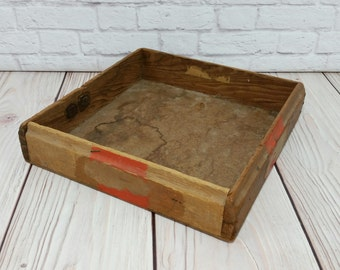 Vintage Square Shallow Wood Box