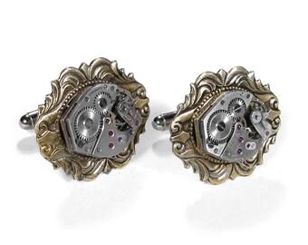 Mens Watch Cufflinks Ruby Jeweled Watch Cuff Links Brass Art Nouveau Wedding Anniversary Groomsmen Fathers - Steampunk Jewelry by edmdesigns