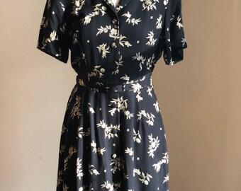 Vintage 1990's Black Floral Pattern Belted Day Dress