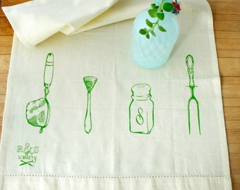 Apple Green Screen Printed Dish Towel : Hostess Gift, Housewarming, Vintage Kitchen, Humorous Kitchen, Spring Colors, Cotton Linen Towel