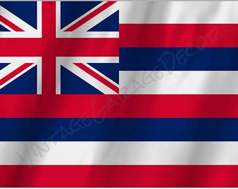Hawaii State Flag on a Metal Sign