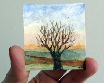 Lonely tree. Original, miniature  watercolor, artist Ilse Hviid, tiny painting, doll-house wall decor, small painting, landscape, tree, mini