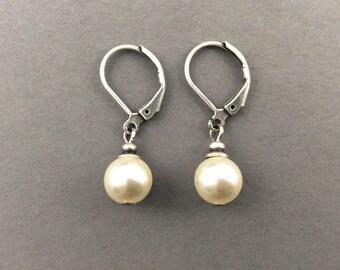 Drop Pearl Earrings Vintage Weddings Oxidized Silver With Cream Round Swarovski Crystal Pearls