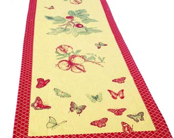 French Jarquard Table Runner, Garden Table Runner, Treated Table Runner, Yellow and Red Runner