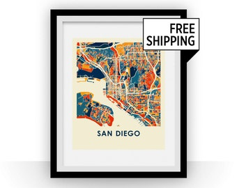 San Diego Map Print - Full Color Map Poster