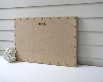 Organizer - Burlap Memo Board - MAGNETIC Bulletin Board 15 x 22 inches with Hardwood and Brass Upholstery Nail Head Tacks and Button Magnets