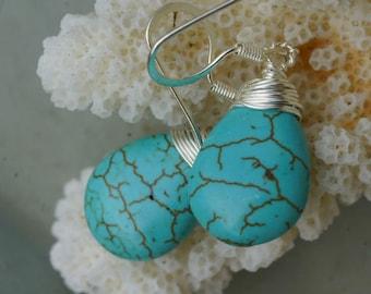 turquoise teardrops earrings, Tibetan Turquoise Earrings. Wire wrapped Turquoise Earrings.
