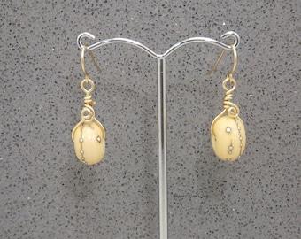Earrings, Roll Along, Lampwork Glass, 14 Kt Gold Filled Wire