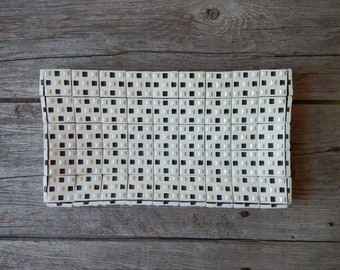 1940s Tile Clutch  Plasti-Mesh by Frilo White Plastic Tile Zippered Clutch