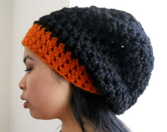 oversized beanie, orange and black, chunky unisex