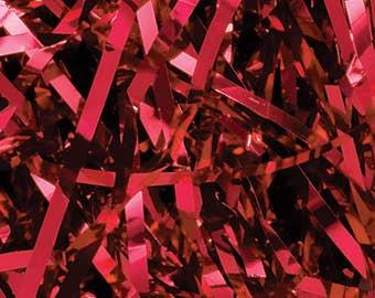 Red Metallic Shred, Gift Basket Filler, Christmas Decor, Decorative Paper