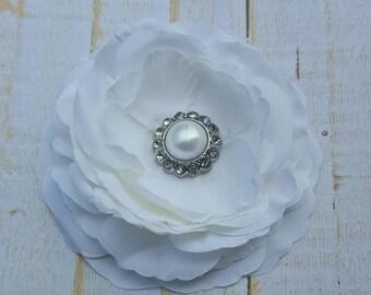 """White Flower Clip White Hair Flower 3.5"""" White Ranunculus Hair Clip Pearl and Rhinestone Hair Clip Wedding Bridesmaid Flower Girl Hair Clip"""