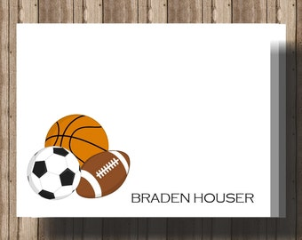 PERSONALIZED SPORTS NOTECARDS/Boys Personalized Notecards/Basketball Football Soccer Stationery/Boxed Set of 10/Thank You Cards/Sports Party