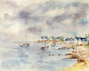 Original painting of seascape in Brittany, houses along the ocean with rocks and boats, original watercolor of ocean in France with clouds