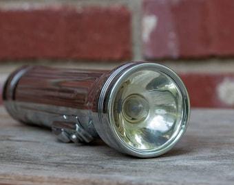Vintage Metal Bond Flashlight Morse Code SOS Button