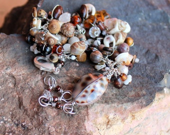 shell beaded bracelet / wire wrapped seashells brown tan bracelet / earth and sea adjustable gift / white pearls