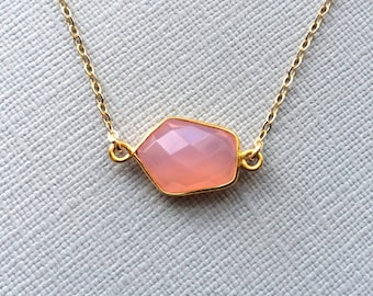 Pink Chalcedony Necklace, Pink Faceted Vermeil Bezel, Gold Filled Chain, Bridesmaids Jewlery