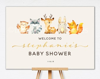 Woodland Baby Shower Welcome Sign | Baby shower Sign | Custom Welcome sign | Woodland Babyshower decor | Printable Birthday Sign | 0548cream