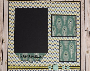 Pre-Made 12x12 Scrapbook Page - Remember - Photo Album Page